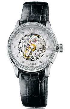 Oris Artelier Skeleton Diamonds Ladies watch, model number - 0156076044919-0751660FC, discount price of £2,050.00 from The Watch Source