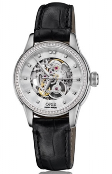 Oris Artelier Skeleton Diamonds Ladies watch, model number - 0156076874919-0751460FC, discount price of £2,050.00 from The Watch Source