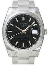 Rolex Date 34mm Mens watch, model number - 115200 Black Dial, discount price of £4,200.00 from The Watch Source