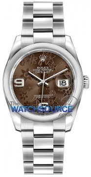 Rolex Datejust 36mm Stainless Steel 116200 Bronze Floral Oyster watch
