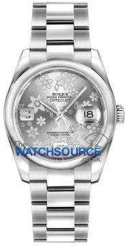 Rolex Datejust 36mm Stainless Steel 116200 Silver Floral Oyster watch