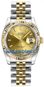Rolex Datejust 36mm Stainless Steel and Yellow Gold 116233 Champagne Index Jubilee watch