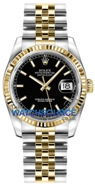 Rolex Datejust 36mm Stainless Steel and Yellow Gold 116233 Black Index Jubilee watch