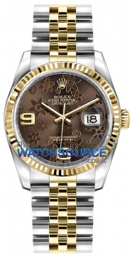 Rolex Datejust 36mm Stainless Steel and Yellow Gold 116233 Bronze Floral Jubilee watch