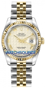 Rolex Datejust 36mm Stainless Steel and Yellow Gold 116233 Ivory Pyramid Roman Jubilee watch