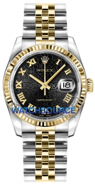 Rolex Datejust 36mm Stainless Steel and Yellow Gold 116233 Jubilee Black Roman Jubilee watch