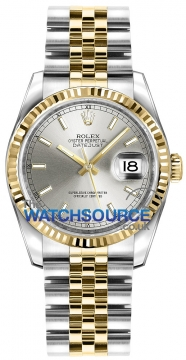 Rolex Datejust 36mm Stainless Steel and Yellow Gold 116233 Silver Index Jubilee watch