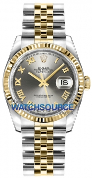 Rolex Datejust 36mm Stainless Steel and Yellow Gold 116233 Steel Roman Jubilee watch