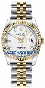 Rolex Datejust 36mm Stainless Steel and Yellow Gold 116233 White Index Jubilee watch