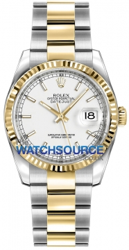 Rolex Datejust 36mm Stainless Steel and Yellow Gold 116233 White Index Oyster watch