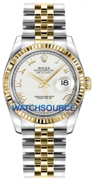 Rolex Datejust 36mm Stainless Steel and Yellow Gold 116233 White Roman Jubilee watch