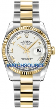Rolex Datejust 36mm Stainless Steel and Yellow Gold 116233 White Roman Oyster watch