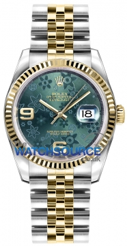 Rolex Datejust 36mm Stainless Steel and Yellow Gold 116233 Green Floral Jubilee watch
