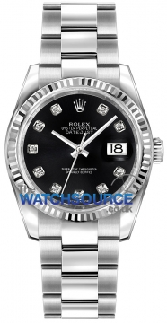 Rolex Datejust 36mm Stainless Steel 116234 Black Diamond Oyster watch