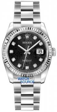 Rolex Datejust 36mm Stainless Steel 116234 Jubilee Black Diamond Oyster watch