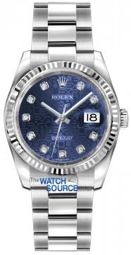 Rolex Datejust 36mm Stainless Steel 116234 Jubilee Blue Diamond Oyster watch