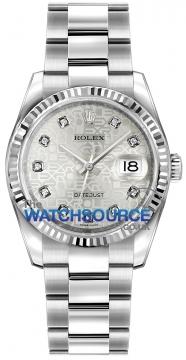 Rolex Datejust 36mm Stainless Steel 116234 Jubilee Silver Diamond Oyster watch