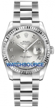 Rolex Datejust 36mm Stainless Steel 116234 Silver Diamond Oyster watch