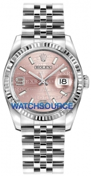 Rolex Datejust 36mm Stainless Steel 116234 Pink Wave Jubilee watch