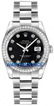 Rolex Datejust 36mm Stainless Steel 116244 Black Diamond Oyster watch