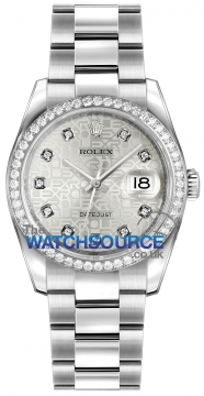 Rolex Datejust 36mm Stainless Steel 116244 Jubilee Silver Diamond Oyster watch