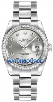 Rolex Datejust 36mm Stainless Steel 116244 Silver Diamond Oyster watch