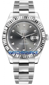 Rolex Oyster Perpetual Datejust II Mens watch, model number - 116334 Rhodium Diamond, discount price of £8,200.00 from The Watch Source
