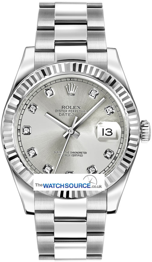 116334 Silver Diamond Oyster Perpetual Datejust Ii Rolex
