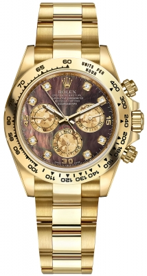 Rolex Cosmograph Daytona Yellow Gold 116508 Black MOP Gold Crystals Diamond Oyster watch