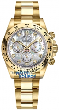 Rolex Cosmograph Daytona Yellow Gold 116508 White MOP Diamond Oyster watch