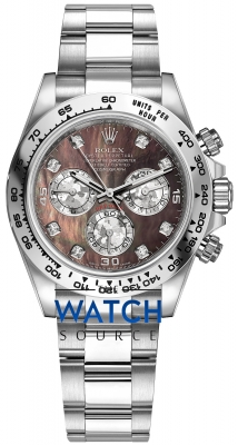 Rolex Cosmograph Daytona White Gold 116509 Black MOP Gold Crystals Diamond Oyster watch