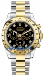 Rolex Cosmograph Daytona Steel and Gold 116523 Black Diamond watch
