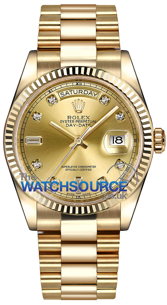 9ff5dbfc15e0b Rolex Day-Date 36mm Yellow Gold Fluted Bezel 118238 Champagne Diamond  President