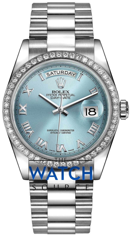 c88a19e0bfa Rolex Day-Date 36mm Platinum Diamond Bezel 118346 Ice Blue Roman President