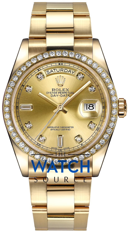 Rolex Day,Date 36mm Yellow Gold Diamond Bezel 118348 Champagne Diamond  Oyster