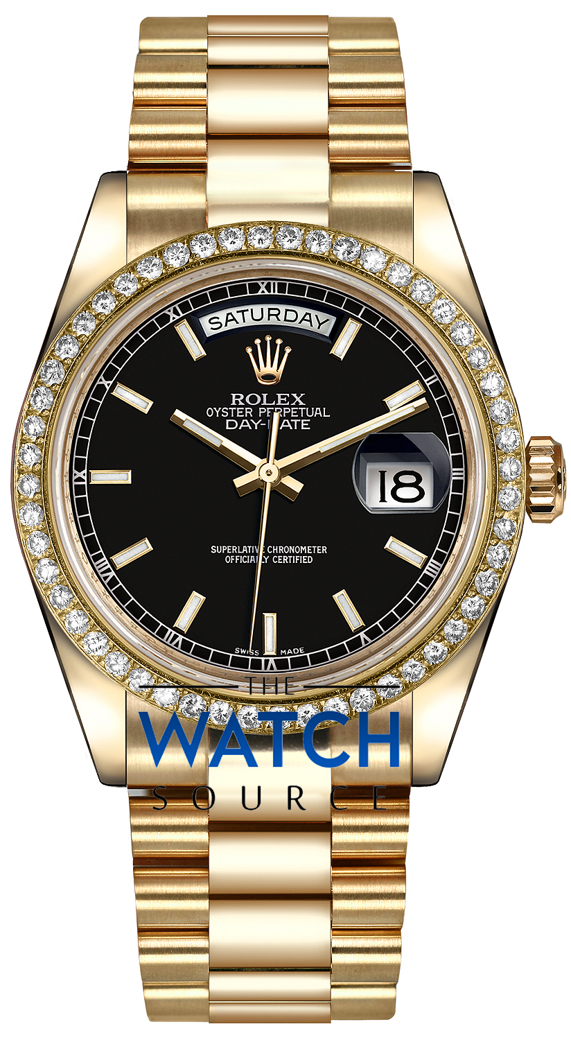 Rolex Day,Date 36mm Yellow Gold Diamond Bezel 118348 Black Index President