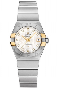 Buy this new Omega Constellation Co-Axial Automatic 27mm 123.20.27.20.55.005 ladies watch for the discount price of £4,320.00. UK Retailer.