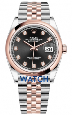 Rolex Datejust 36mm Stainless Steel and Rose Gold 126201 Black Diamond Jubilee watch