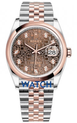 Rolex Datejust 36mm Stainless Steel and Rose Gold 126201 Jubilee Chocolate Diamond Jubilee watch
