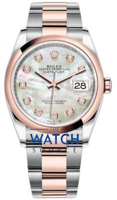 Rolex Datejust 36mm Stainless Steel and Rose Gold 126201 MOP Diamond Oyster watch