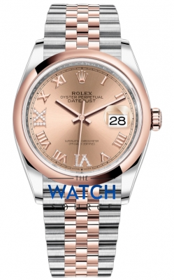 Rolex Datejust 36mm Stainless Steel and Rose Gold 126201 Rose VI IX Roman Jubilee watch