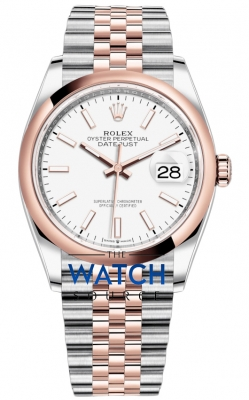 Rolex Datejust 36mm Stainless Steel and Rose Gold 126201 White Index Jubilee watch