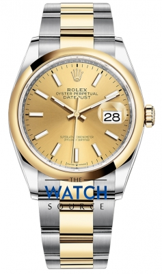Rolex Datejust 36mm Stainless Steel and Yellow Gold 126203 Champagne Index Oyster watch