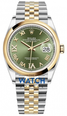 Rolex Datejust 36mm Stainless Steel and Yellow Gold 126203 Olive Green VI IX Roman Jubilee watch