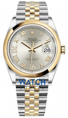 Rolex Datejust 36mm Stainless Steel and Yellow Gold 126203 Silver VI IX Roman Jubilee watch