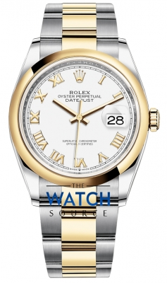 Rolex Datejust 36mm Stainless Steel and Yellow Gold 126203 White Roman Oyster watch