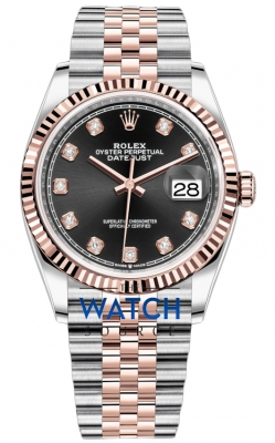 Rolex Datejust 36mm Stainless Steel and Rose Gold 126231 Black Diamond Jubilee watch