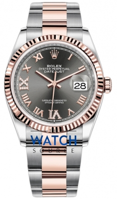 Rolex Datejust 36mm Stainless Steel and Rose Gold 126231 Dark Rhodium VI IX Roman Oyster watch