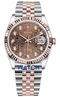 Rolex Datejust 36mm Stainless Steel and Rose Gold 126231 Jubilee Chocolate Diamond Jubilee watch