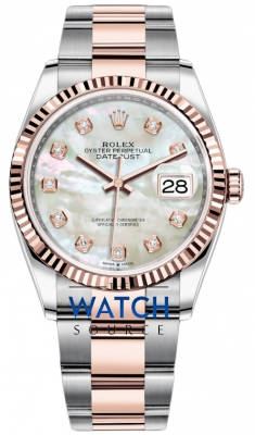 Rolex Datejust 36mm Stainless Steel and Rose Gold 126231 MOP Diamond Oyster watch